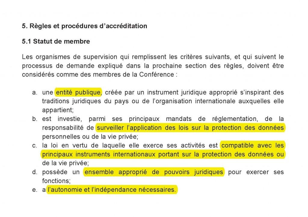 Critères d'accréditation à la Conférence internationale (2011)